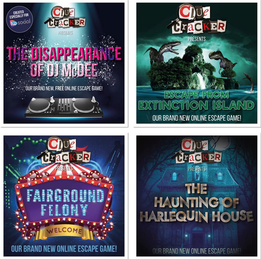 All four online escape game posters