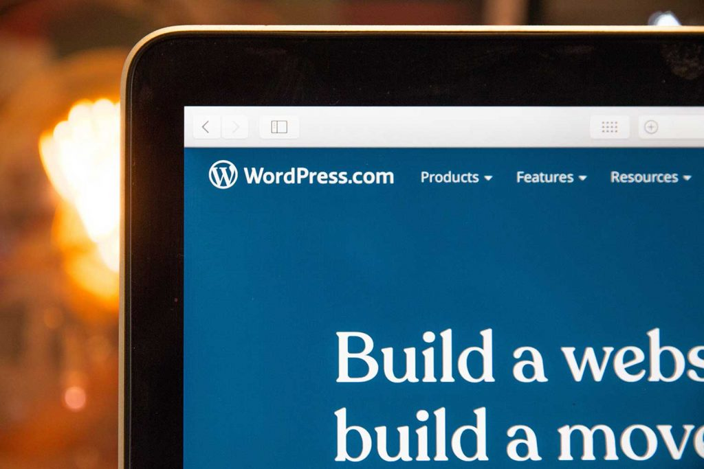 Top corner of laptop on WordPress website